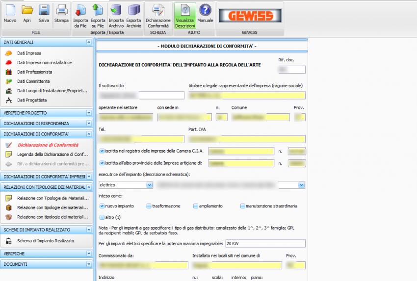 software free dichiarazione di conformità