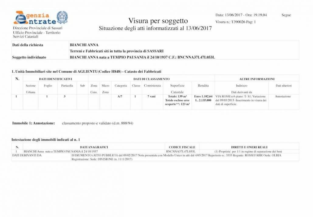 Visura catastale per immobile online studio tecnico salvatore patti - Visura storica per immobile gratis ...