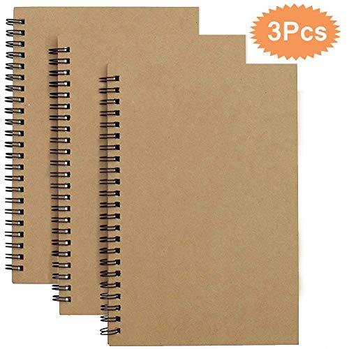A5 Sketchbook Set di 3 Blocco Note a Spirale in Bianco Carta Kraft Quaderno Schizzi Pagine Bianche,100 Pagine / 50 Fogli…