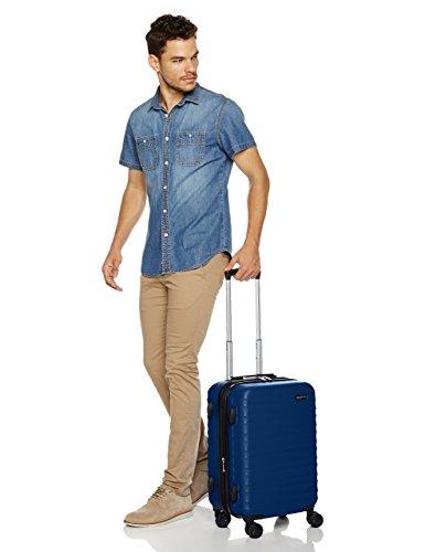 AmazonBasics – Valigia Trolley rigido, 55 cm (utilizzabile come bagaglio a mano di dimensioni standard), Blu scuro
