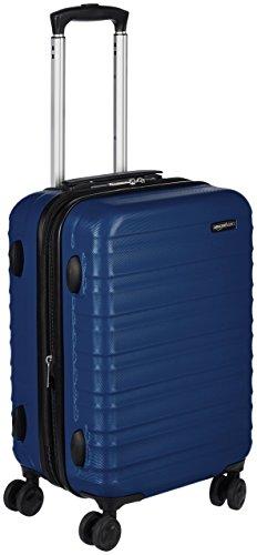 Amazon Basics – Valigia Trolley rigido, 55 cm (utilizzabile come bagaglio a mano di dimensioni standard), Blu scuro