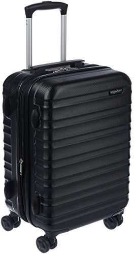 AmazonBasics – Valigia Trolley rigido, 55 cm (utilizzabile come bagaglio a mano di dimensioni standard), Nero