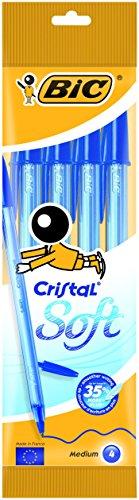 Bic Cristal Soft Punta Media 1,2 mm Confezione 4 Penne con Cappuccio Colore Blu