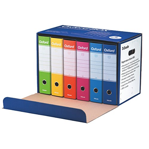 Esselte Oxford Box 390785110 6 Raccoglitori Oxford con Scatola, Formato Protocollo, Cartone, Dorso 8 cm per Raccoglitore…