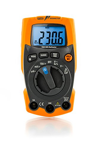 HT-Instruments estremamente robusto multimetro digitale TRMS fino a 600 V AC/DC con integrato LED Lampada, 1 pezzi, Iron Meter.