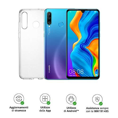 HUAWEI P30 Lite Smartphone e Cover, 4 GB RAM, Memoria 128 GB Espandibile, Display 6.15″ FHD+, Tripla Fotocamera Posteriore da 48+8+2 MP, Fotocamera Anteriore 24 MP, Blu [Italia]