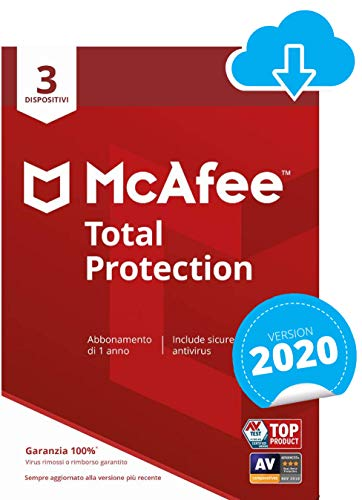 McAfee Total Protection 2021, 3 Dispositivi, 1 Anno, Software Antivirus, Sicurezza Internet, Gestore delle Password…