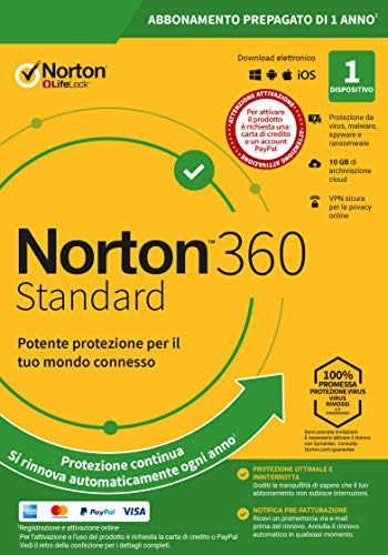 Norton 360 Standard 2021, Antivirus per 1 Dispositivo, Licenza di 1 anno con rinnovo automatico, Secure VPN e Password…