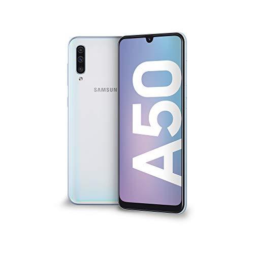 Samsung Galaxy A50 Smartphone, Display 6.4″ Super AMOLED, 128 GB Espandibili, RAM 4 GB, Batteria 4000 mAh, 4G, Dual Sim, Android 9 Pie, [Versione Italiana], White