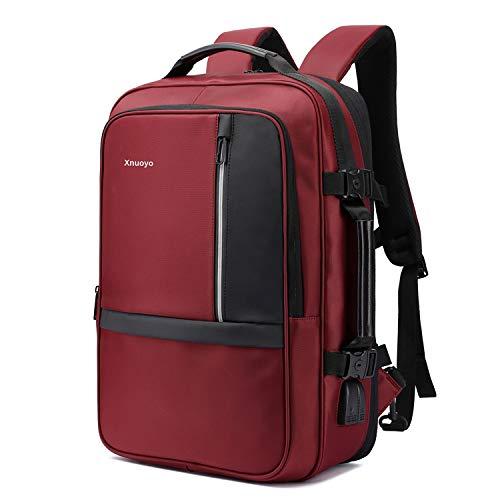 Xnuoyo 17.3 Pollici Espandibile Laptop Zaino Antifurto, Impermeabile TSA Zaino Porta PC Convertibile per Notebook (Rosso…